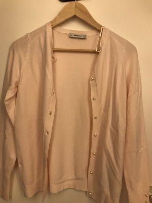 Zara Giacca in maglia rosa pallido