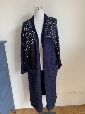 Zara Strickjacke Strickmantel S 36 Perlen blau