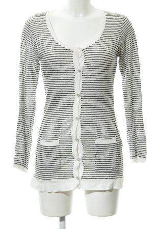 Zara Strickjacke weiß-schwarz Streifenmuster schlichter Stil