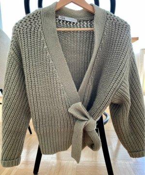 Zara Coarse Knitted Jacket khaki-green mixture fibre