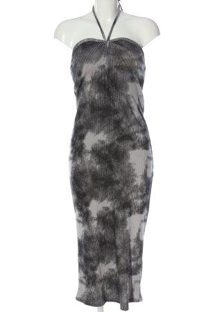 Zara Strickkleid hellgrau-weiß abstraktes Muster Casual-Look