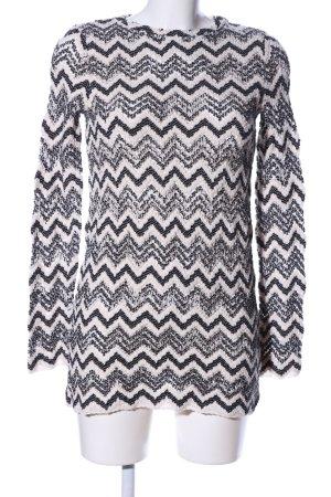Zara Strickkleid weiß-schwarz grafisches Muster Casual-Look