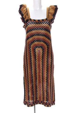 Zara Abito di maglia marrone-nero motivo astratto stile casual