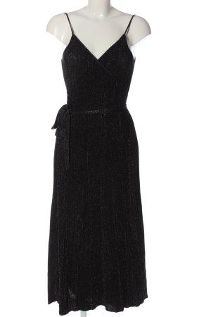Zara Strickkleid schwarz-silberfarben meliert Glanz-Optik