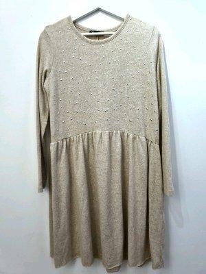 Zara Vestito di lana crema Poliestere