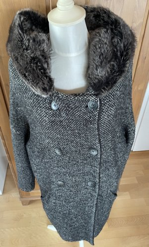 ZARA Strickmantel Mantel Faux-fur Kapuze Gr. M grau Loose-fit