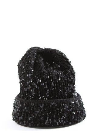 Zara Czapka z dzianiny czarny W stylu casual