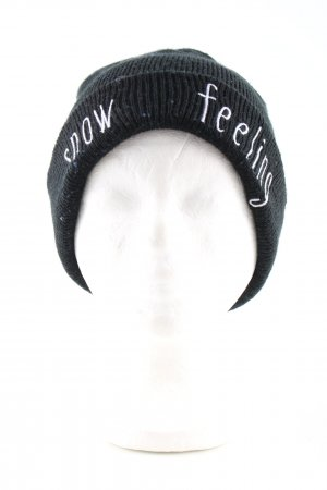 Zara Knitted Hat black-white printed lettering casual look