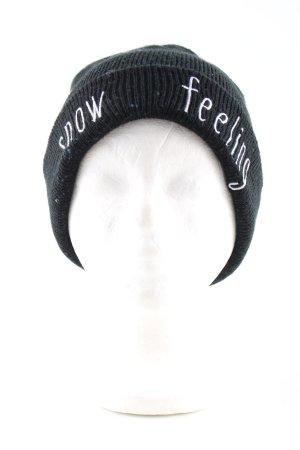 Zara Cappello a maglia nero-bianco caratteri stampati stile casual