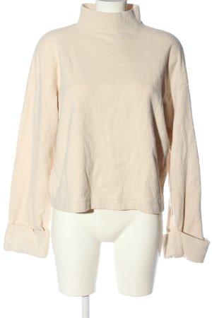Zara Sweter z dzianiny kremowy Warkoczowy wzór W stylu casual