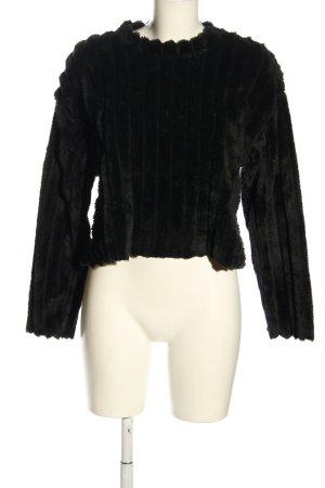 Zara Strickpullover schwarz Streifenmuster Casual-Look