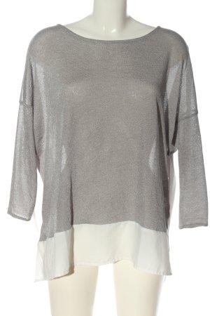 Zara Strickpullover hellgrau-weiß Elegant