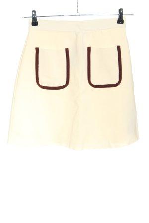 Zara Jupe tricotée crème-noir style décontracté