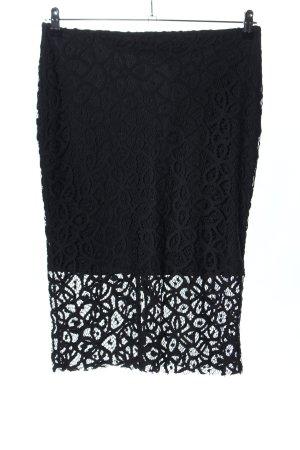 Zara Strickrock schwarz Blumenmuster Elegant
