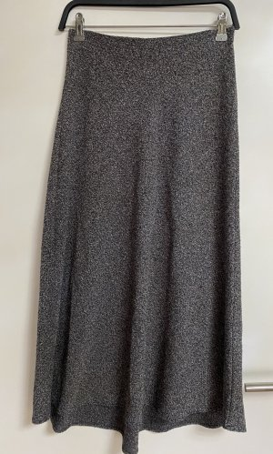 Zara strickrock rock midi Lang Strick grau schwarz neu gummibund S 36