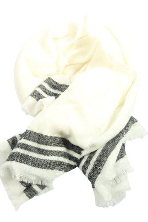 Zara Bufanda de punto blanco puro-negro estampado a rayas look casual