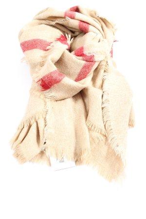 Zara Écharpe en tricot crème-rouge style décontracté