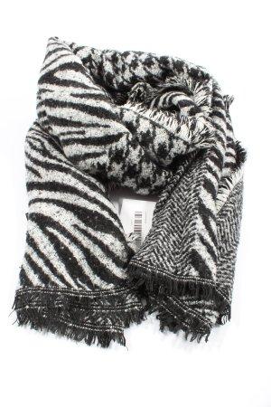 Zara Écharpe en tricot blanc-noir imprimé allover style décontracté