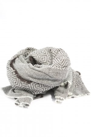 Zara Knitted Scarf light grey-black graphic pattern casual look