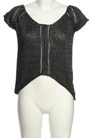 Zara Strickshirt schwarz-silberfarben meliert Casual-Look