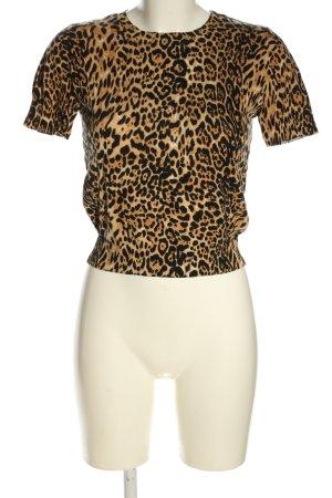 Zara Strickshirt braun-schwarz Animalmuster Casual-Look