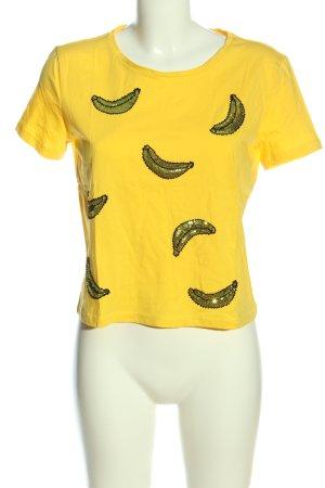 Zara T-shirts en mailles tricotées jaune primevère imprimé avec thème