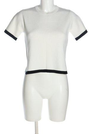 Zara Strickshirt weiß-schwarz Casual-Look
