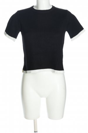 Zara Strickshirt schwarz-weiß Zopfmuster Casual-Look