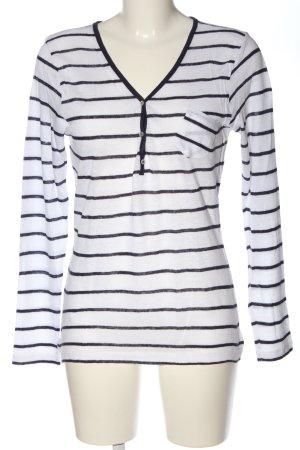 Zara Strickshirt weiß-blau Streifenmuster Casual-Look