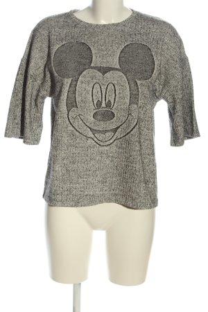 Zara Strickshirt weiß-schwarz Motivdruck Casual-Look
