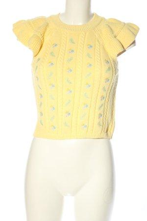 Zara Top lavorato a maglia giallo pallido-blu motivo floreale stile casual