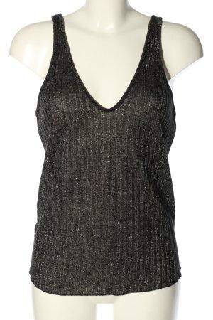 Zara Top de punto negro-color plata moteado look casual