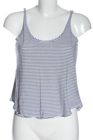 Zara Stricktop weiß-schwarz Streifenmuster Casual-Look