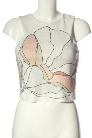 Zara Stricktop weiß-pink Motivdruck Casual-Look