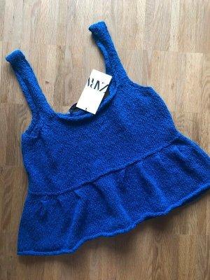 Zara Gebreide top blauw-staalblauw