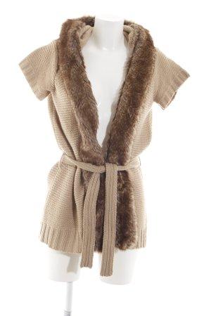 Zara Gebreid vest nude-bruin kabel steek casual uitstraling