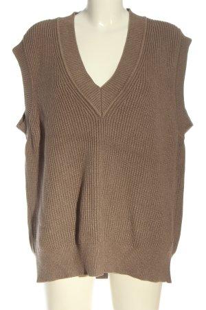 Zara Chaleco de punto marrón look casual