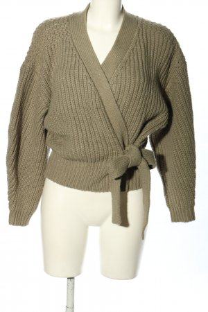 Zara Knitted Wrap Cardigan khaki cable stitch casual look