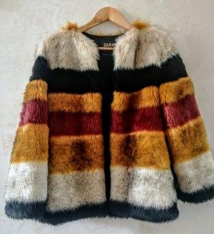 Zara striped Faux für jacket S