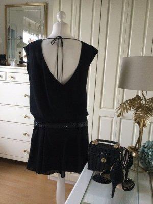 Zara Studio Kleid Georgette gefüttert Rockteil Nietengürtel schwarz Gr. M