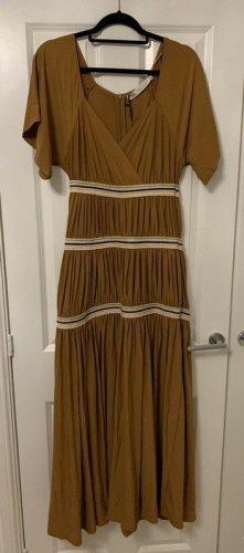 Zara Studio Kleid Maxikleid Rüschenkleid braun karamel Camel Gr. L Neu