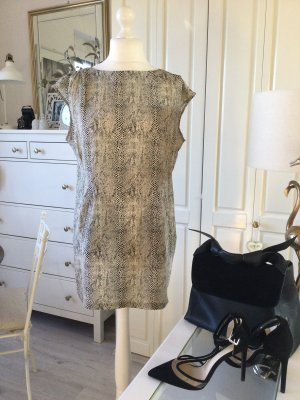 Zara Studio Kleid Seide Animalprint Natur schwarz Gr. L