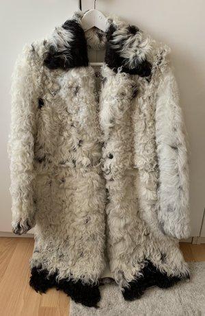 Zara Studio Futrzany płaszcz czarny-biały