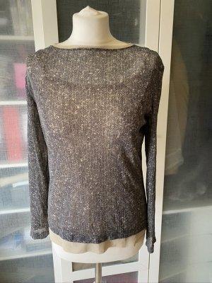Zara Studio Layer Bluse grau/creme Gr. M