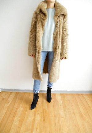 Zara Manteau de fourrure beige