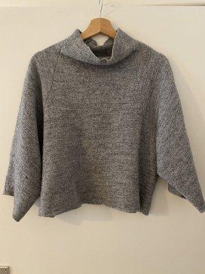 Zara Studio Pullover Grau Meliert M 38 Cropped Pulli Rollkragen Kragen Wolle