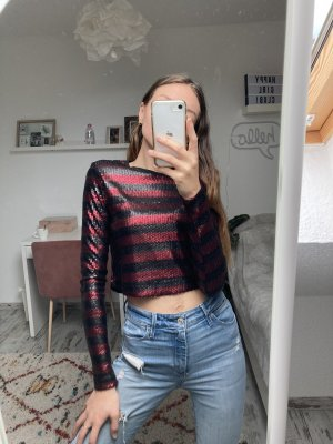 Zara Cropped shirt zwart-donkerrood