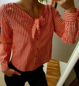 Zara Blouse Top white-dark red