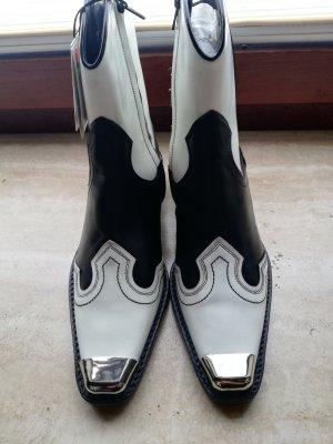 Zara Stivale western bianco-nero Pelle