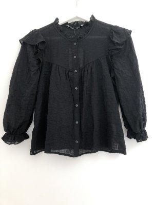 Zara süße schwarze Bluse mit 3/4-Volantärmeln